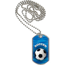"Soccer Dog Tag - 1 1/8 x 2"" Soccer Sports Tag with Neck Chain"