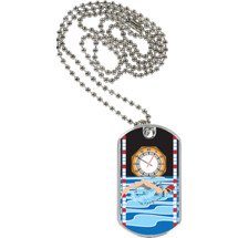 "1 1/8 x 2"" Swimming Sports Tag with Neck Chain"