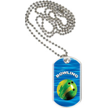 "1 1/8 x 2"" Bowling Sports Tag with Neck Chain"