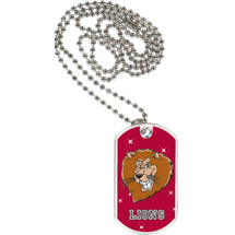"1 1/8 x 2"" Lions Mascot Sports Tag with Neck Chain"