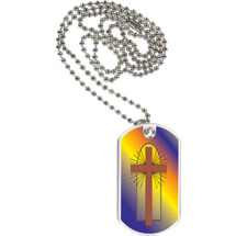 "1 1/8 x 2"" Religious Tag with Neck Chain"
