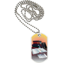 "1 1/8 x 2"" Reading Sports Tag with Neck Chain"