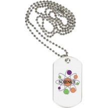 "1 1/8 x 2"" Science Sports Tag with Neck Chain"