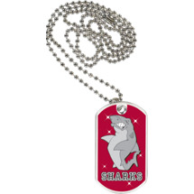 "1 1/8 x 2"" Sharks Mascot Sports Tag with Neck Chain"