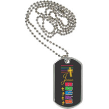 "1 1/8 x 2"" Jesus Rocks  Sport Tag with 24 in. Neck Chain"
