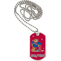 "1 1/8 x 2"" Beavers Mascot Sports Tag with Neck Chain"