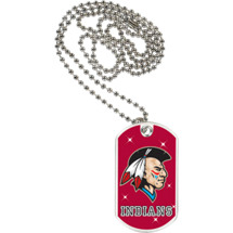 "1 1/8 x 2"" Indians Mascot Sports Tag with Neck Chain"