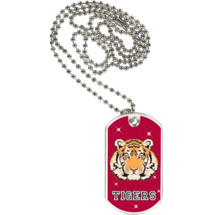 "1 1/8 x 2"" Tigers Mascot Sports Tag with Neck Chain"