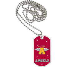 "1 1/8 x 2"" Angels Mascot Sports Tag with Neck Chain"