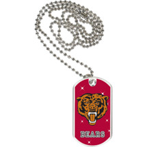 "1 1/8 x 2"" Bears Mascot Sports Tag with Neck Chain"
