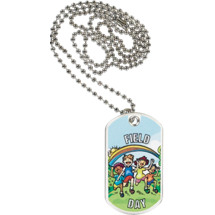 "1 1/8 x 2"" Field Day Sports Tag with Neck Chain"