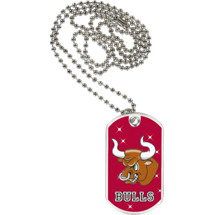 "1 1/8 x 2"" Bulls Mascot Sports Tag with Neck Chain"