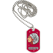 "1 1/8 x 2"" Chiefs Mascot Sports Tag with Neck Chain"