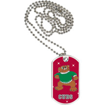 "1 1/8 x 2"" Cubs Mascot Sports Tag with Neck Chain"