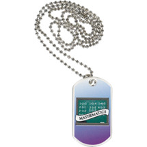 "1 1/8 x 2"" Mathematics Sports Tag with Neck Chain"