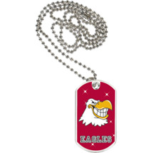 "1 1/8 x 2"" Eagles Mascot Sports Tag with Neck Chain"