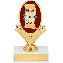 "5 3/4"" Oval Riser Trophy with a High Honor Roll Emblem"