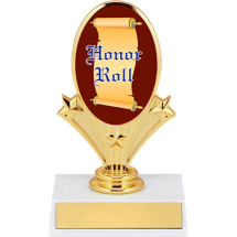 "5 3/4"" Oval Riser Trophy with a Honor Roll Emblem"