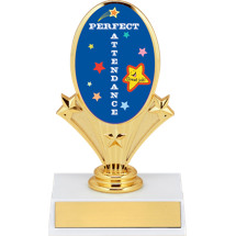 "5 3/4"" Oval Riser Trophy with a Perfect Attendance Emblem"
