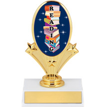 "5 3/4"" Oval Riser Trophy with a Reading Emblem"