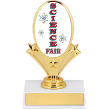"5 3/4"" Oval Riser Trophy with a Science Fair Emblem"