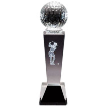 "2 1/8 x 8 1/4"" Optical Crystal Female Golf Award"