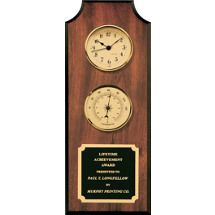 "5 x 13"" Clock & Thermometer Plaque w/Brass Plate"