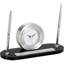 """8 1/2""""x 4 3/4"""" Gray Glass Clock and Pen Deskset"""