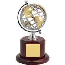 "9 1/4"" Gold and Silver Metal Globe Trophy"