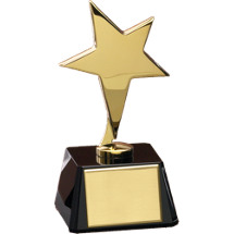 "3 x 3 x 6 1/8"" Five Point Gold Metal Star with Black Glass Base"