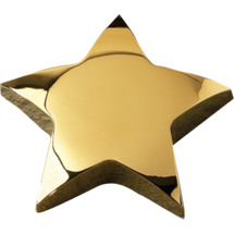 "4 x 4"" Gold Star Paperweight"