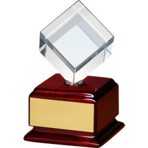 "3"" x 5 3/4"" Clear Glass ""Cube"" on a Rosewood Finish Base Award"
