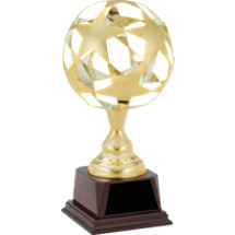 "12 3/4"" Gold Metal Star Globe Trophy"
