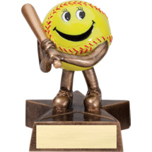 "Softball Trophy - 4"" Resin Happy Softball Trophy"