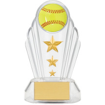 "7"" Silhouette Clear Acrylic Softball Trophy"