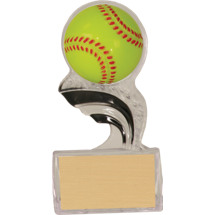 "6 1/2"" Silhouette Clear Acrylic Trophy with a 3-D Molded Softball"