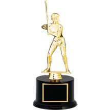 "12 1/2"" Black Acrylic Trophy with Female Softball Batter Figure"