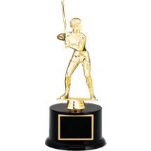 "12 1/2"" Black Acrylic Trophy with Female Softball Batter Figure"