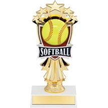 "7 1/2"" Softball and Stars Trophy"