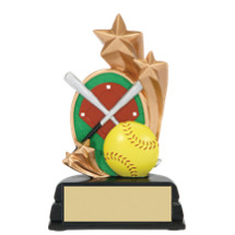 "Softball Trophy - 6"" Softball and Stars Resin Trophy"