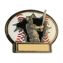 "6 x 4 1/2"" Male Baseball 3D Resin Trophy"