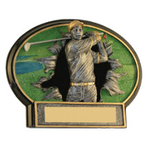 "6 x 4 1/2"" Male Golf 3D Resin Trophy"