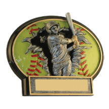 "Softball Trophy - 6 x 4 1/2"" Female Softball 3D Resin Trophy"