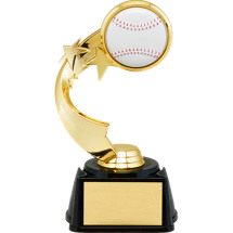 "7"" 3D Baseball Emblem Trophy with Star Riser"