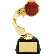 "7"" 3D Basketball Emblem Trophy with Star Riser"