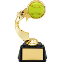 "Softball Trophy - 7"" 3D Softball Emblem Trophy with Star Riser"