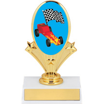 "5 3/4"" Pinewood Derby Oval Riser Trophy"