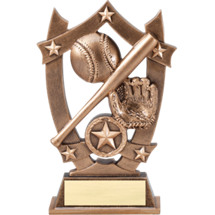 "6 1/4"" Antique Gold Tone Resin Baseball Trophy"