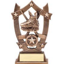"""6 1/4"""" Antique Gold Tone Resin Hockey Trophy"""