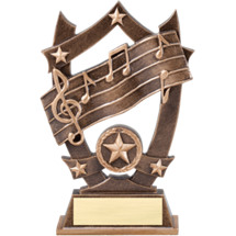 "6 1/4"" Antique Gold Tone Resin Music Trophy"